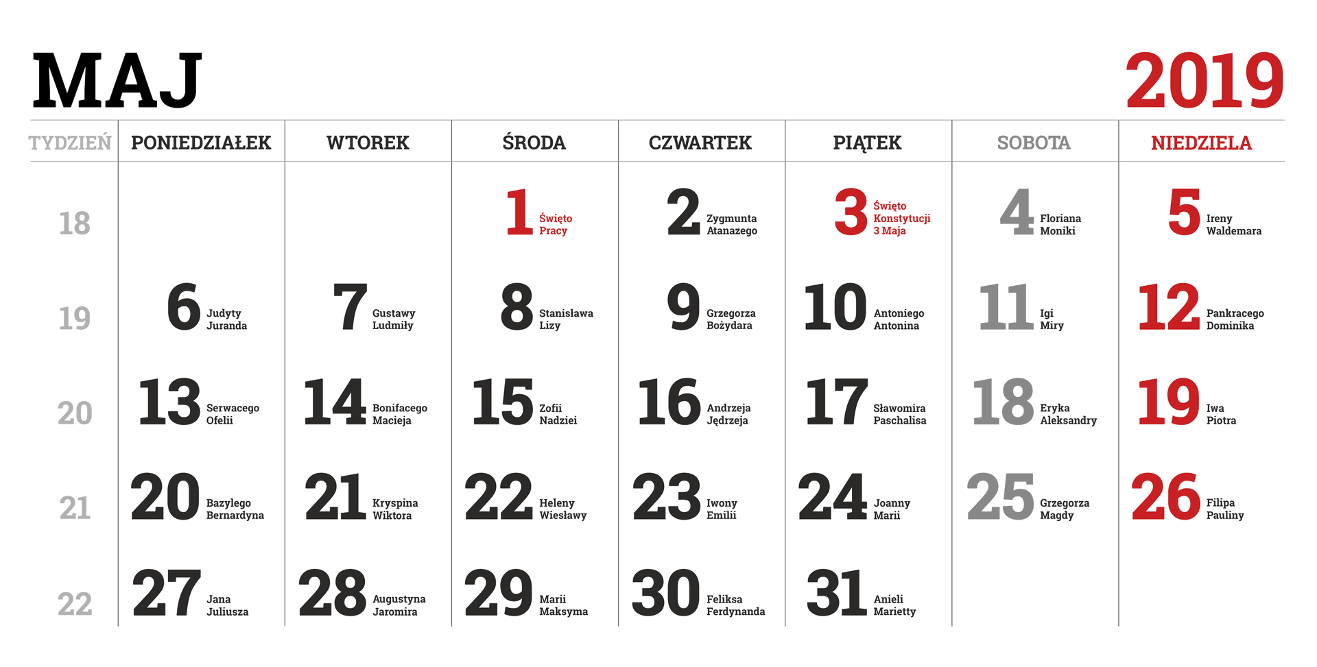 Kalendarium miesiąca maja 2019 roku