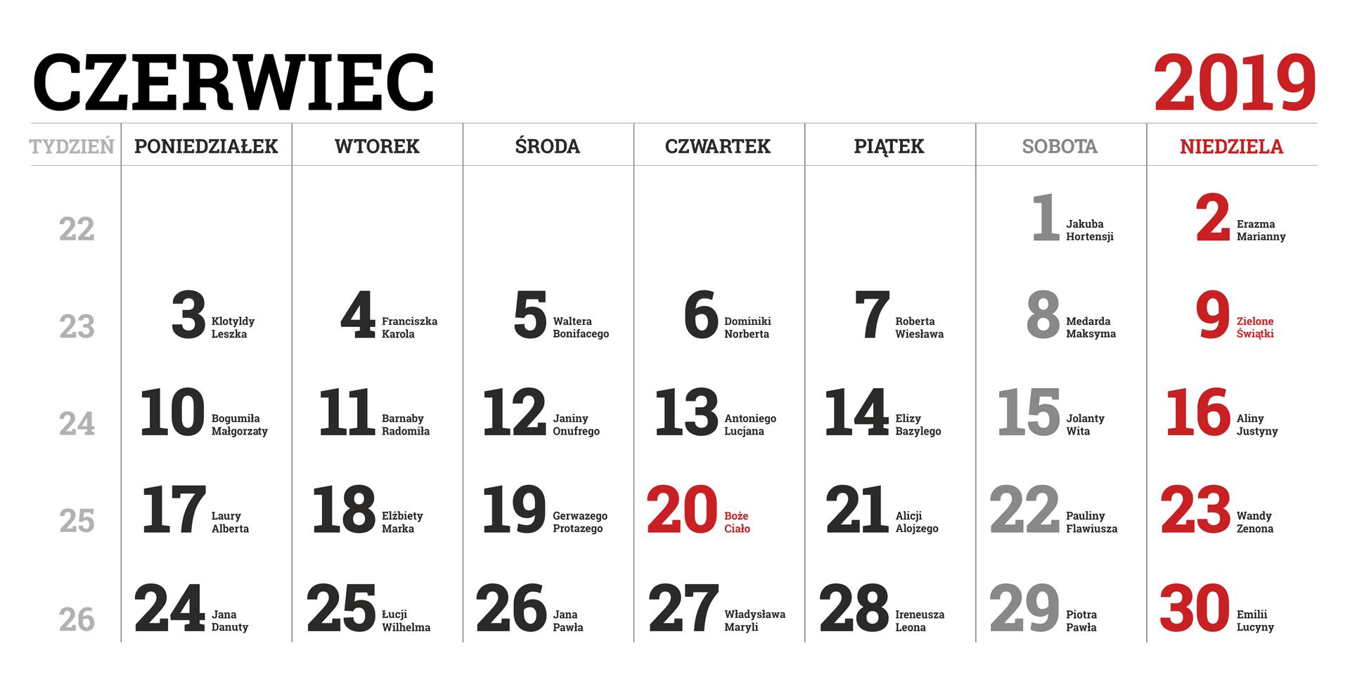 Kalendarium miesiąca czerwca 2019 roku