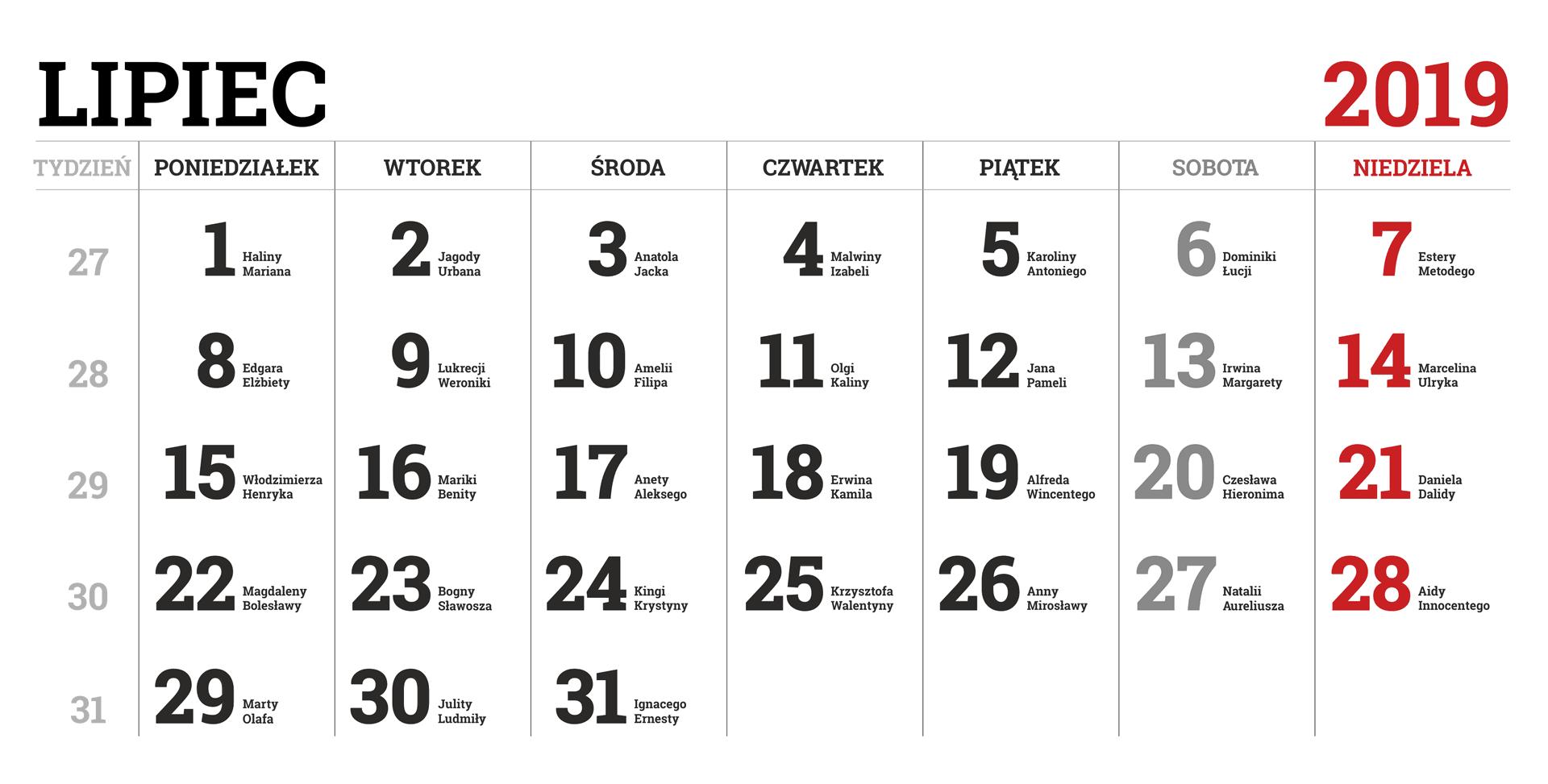 Kalendarium miesiąca lipca 2019 roku