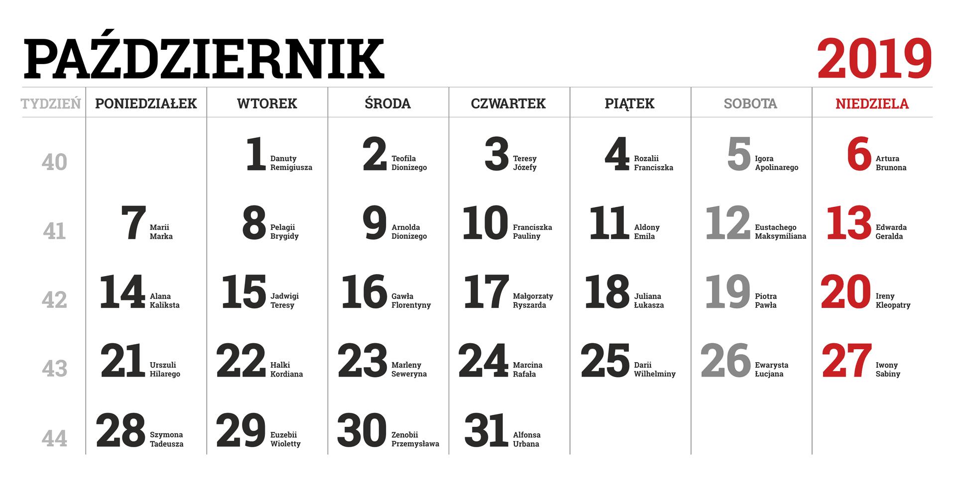 Kalendarium miesiąca października 2019 roku
