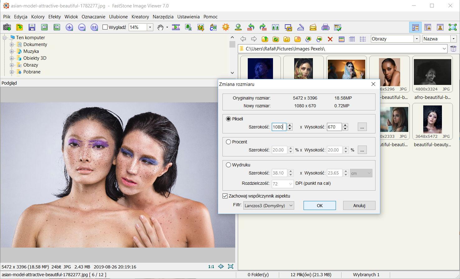 Dodawanie znaku wodnego w programie FastStone Image Viewer - Zmiana rozmiaru