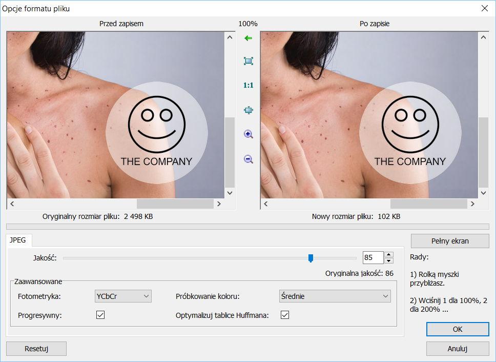 Dodawanie znaku wodnego w programie FastStone Image Viewer - Kompresja JPEG