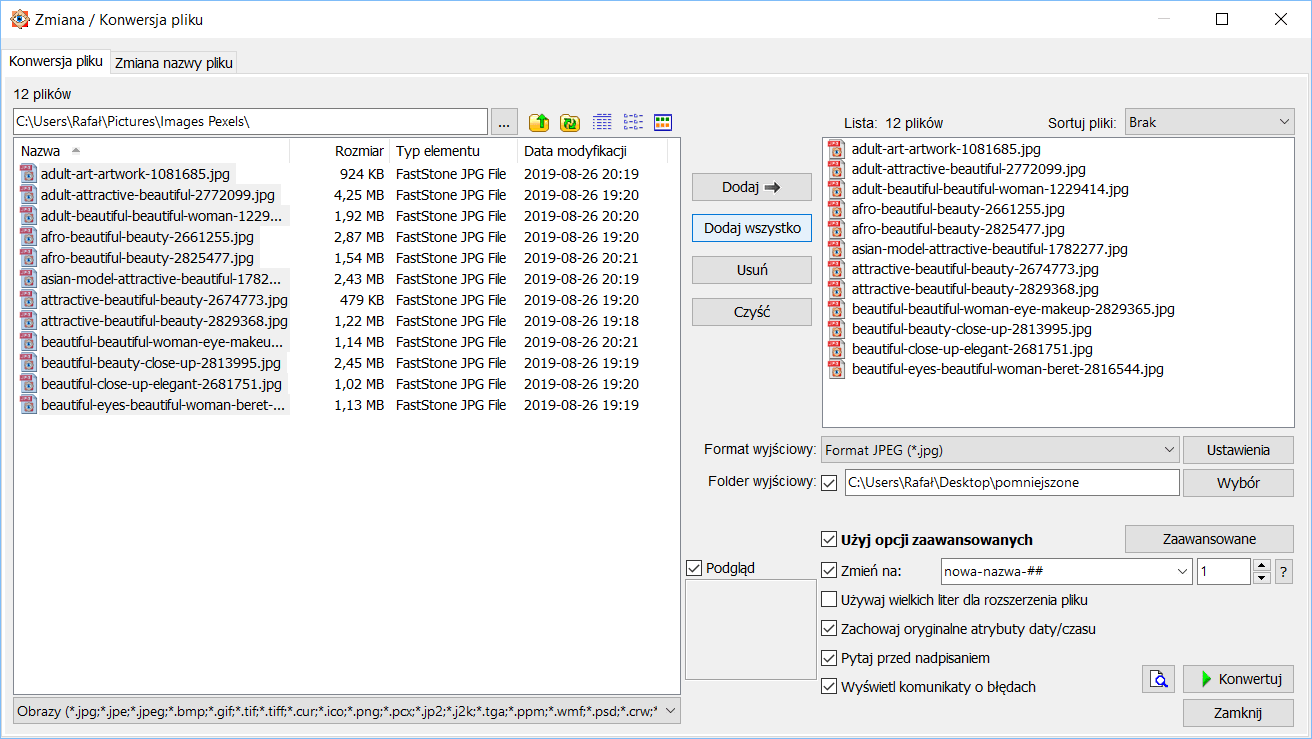 Okno zmiany i konwersji programu FastStone Image Viewer