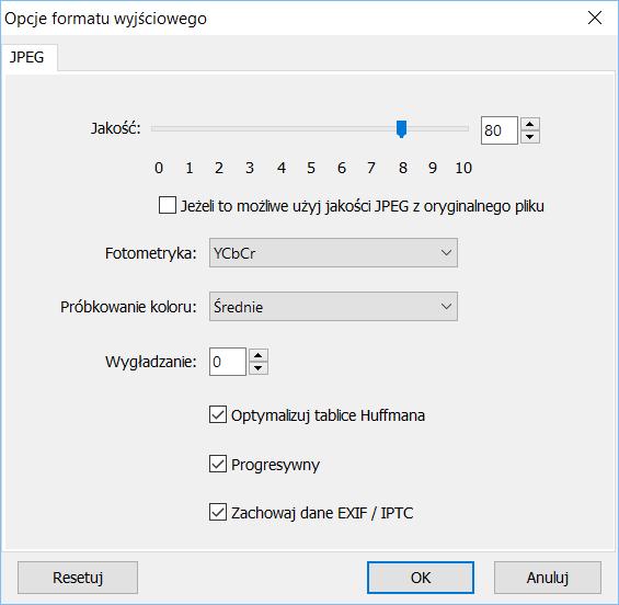 Opcje kompresji JPEG