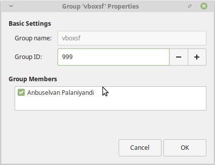 Linux Mint User Group Properties