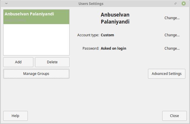Linux Mint User Settings