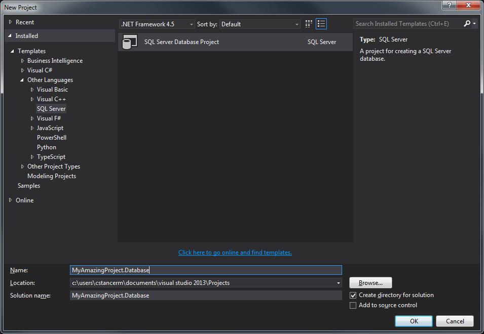 Visual Studio - Création d'un nouveau projet