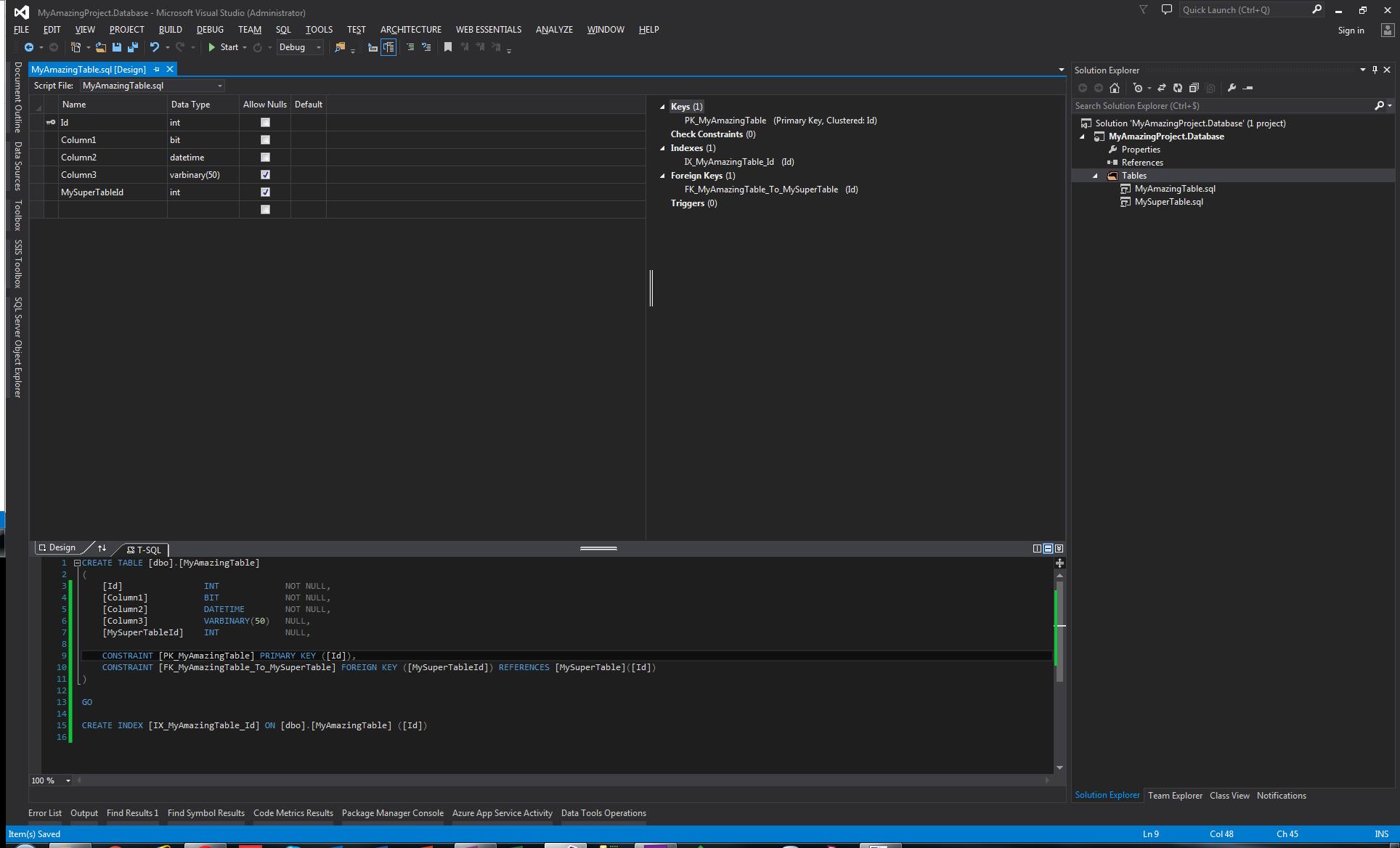 Visual Studio - Editeur de table