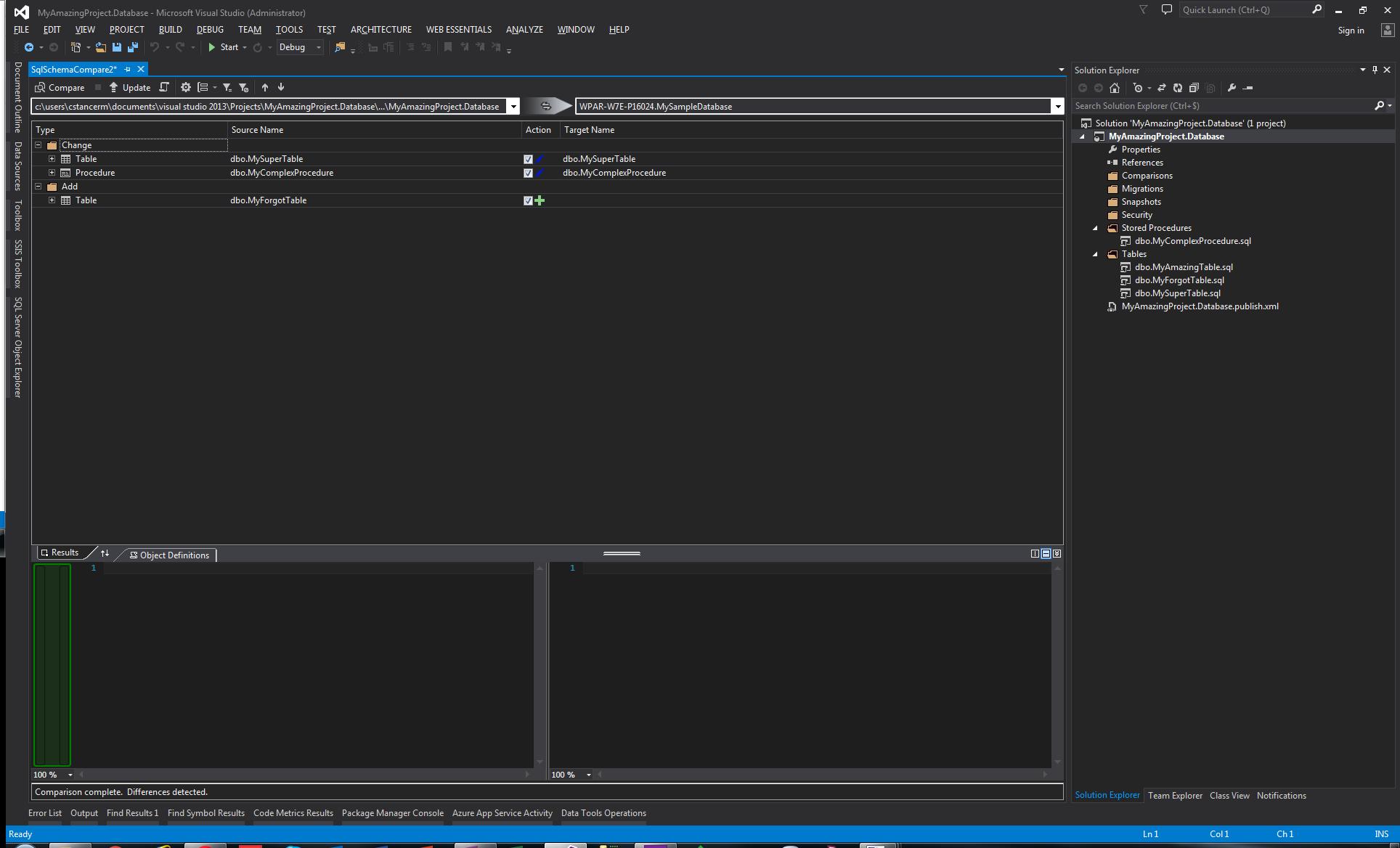 Visual Studio - Outil de comparaison de schéma