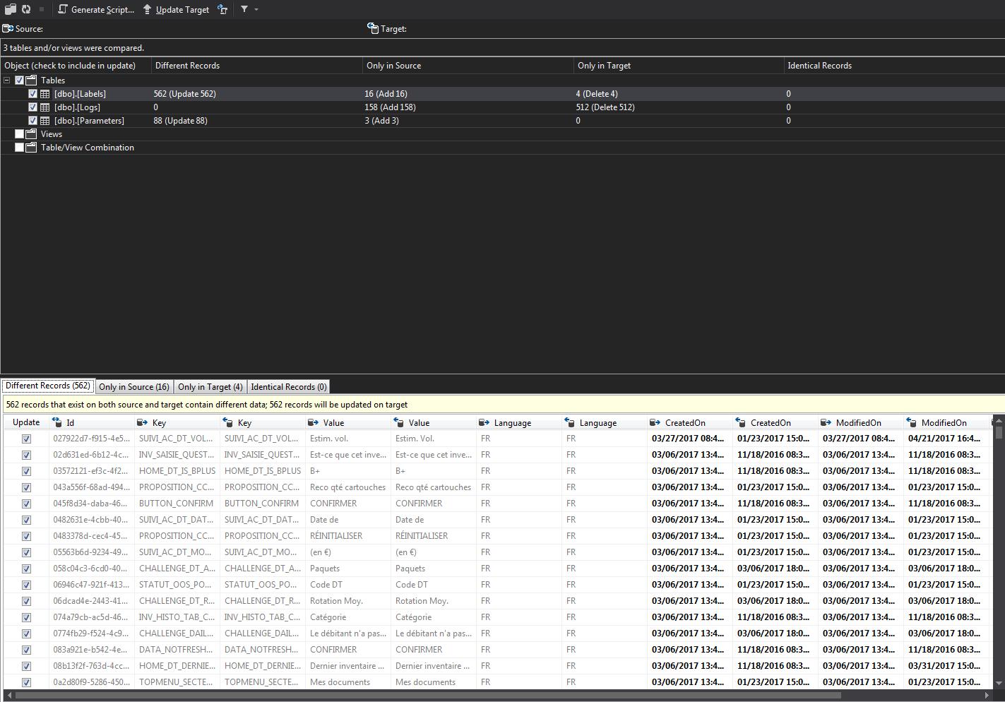 Visual Studio - Résultats de la comparaison de données