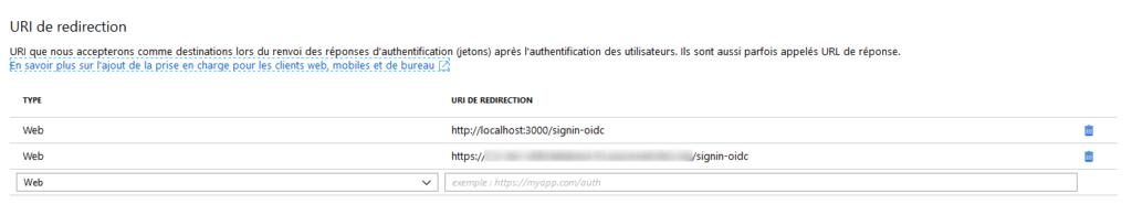 Azure - URI de redirection