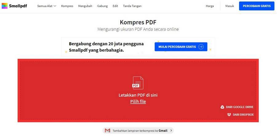 Cara Memperkecil Ukuran PDF Online Dengan SmallPDF