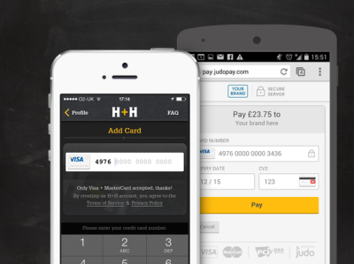 Harris and hoole app and judopayments page