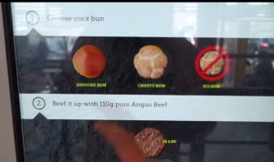 McDonalds Touchscreen Choose a bun menu