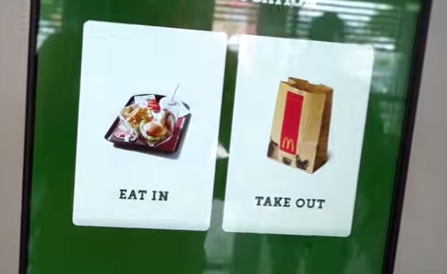McDonalds Touchscreen: Eat in or takeout menu