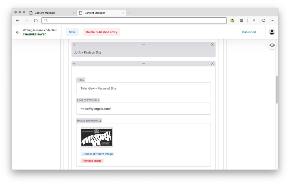 Admin interface shows structured content which is easily editable