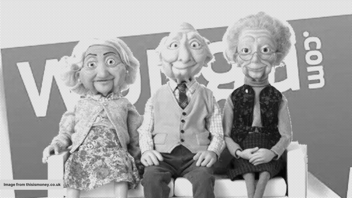A Wonga advert with 3 old people puppets, sat next to each other