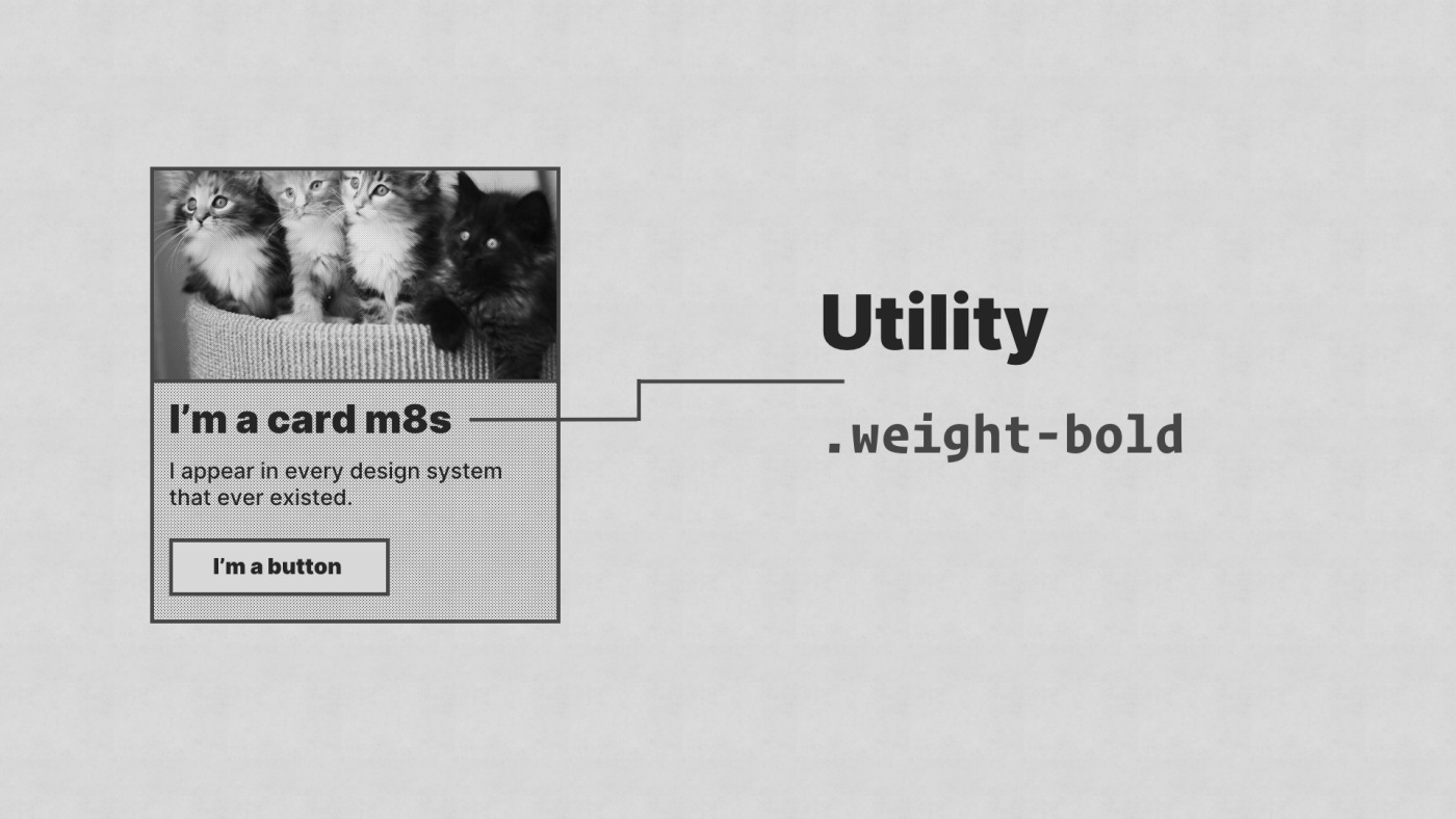 The heading of the card component has an arrow, showing it has a '.weight-bold' utility