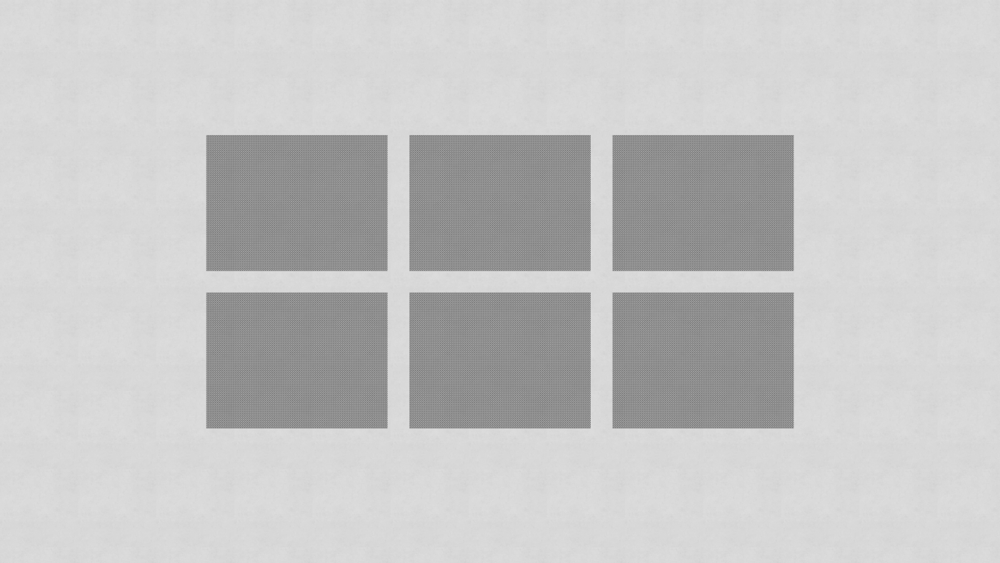 A three column, two row grid of grey boxes