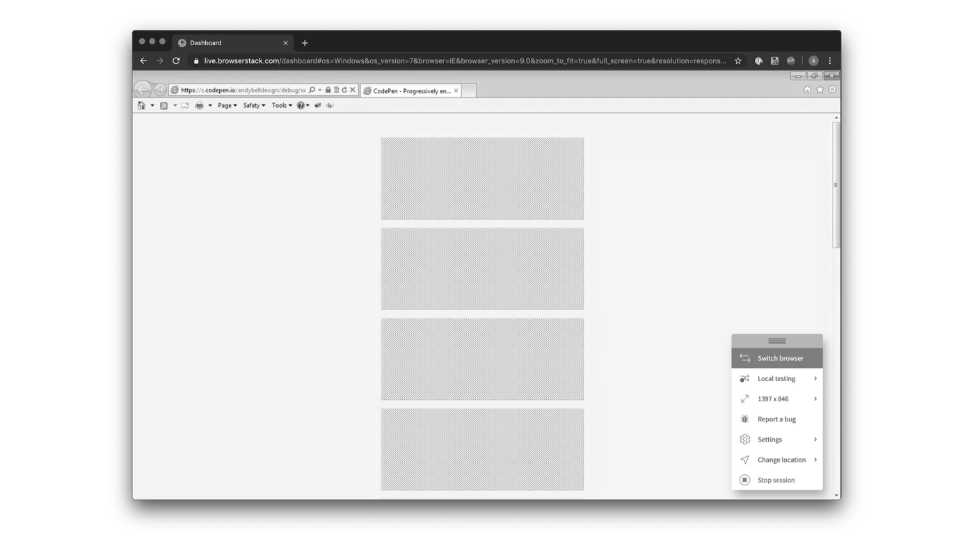 A vertical stack of 4 grey boxes in IE9