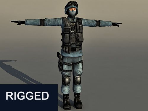 Rigged Soldier Character 3d model