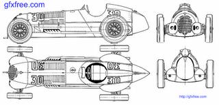 Blueprint of 1937 Alfa Romeo 12C Cabriolet