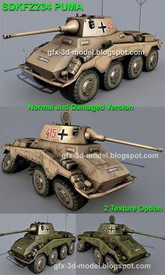 sdkfz 234 puma 3d model
