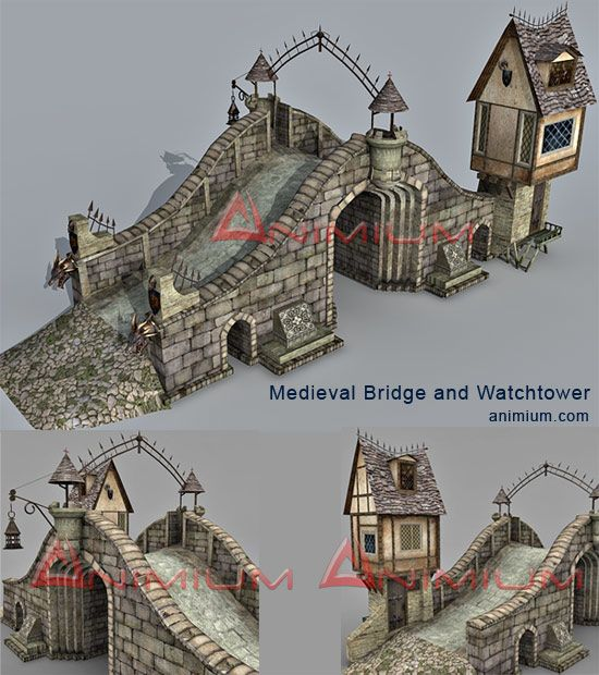 Medieval bridge and watchtower