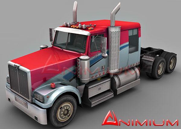 Western Star 4900 Lowmax truck 3d model