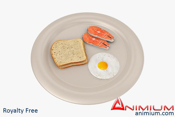 Bread Egg and Salmon 3d model