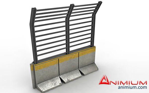 Road Block Fence 3d model