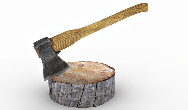 Axe and Wood log 3d model