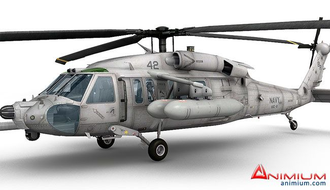 MH-60 Black Hawk helicopter 3d model with Cockpit