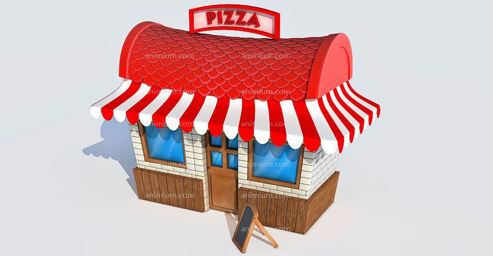 Cartoon Pizza Shop 3d model