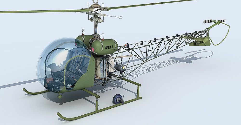 Bell 47 helicopter 3d model