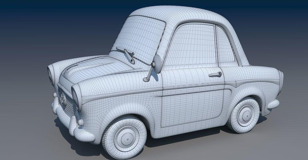 cartoon car wireframe