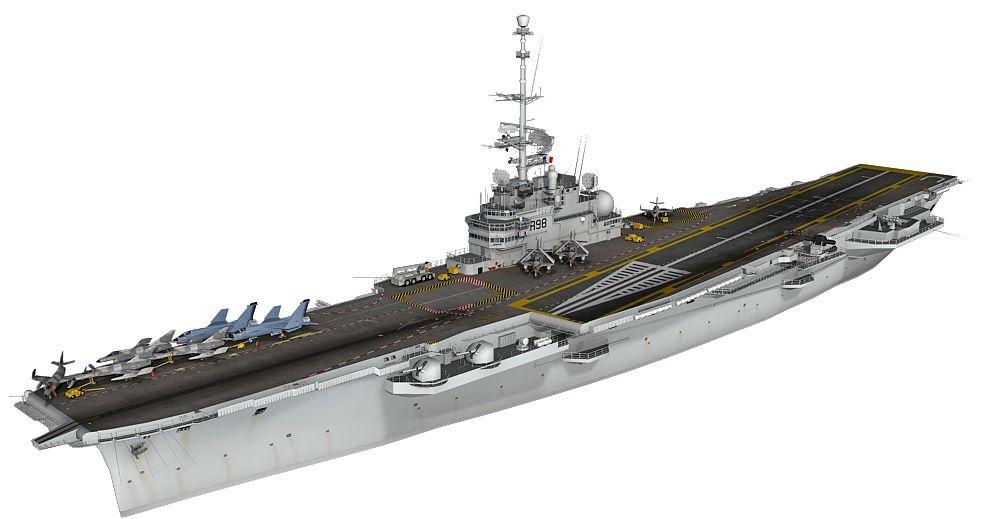 Clemenceau aircraft carrier 3d model