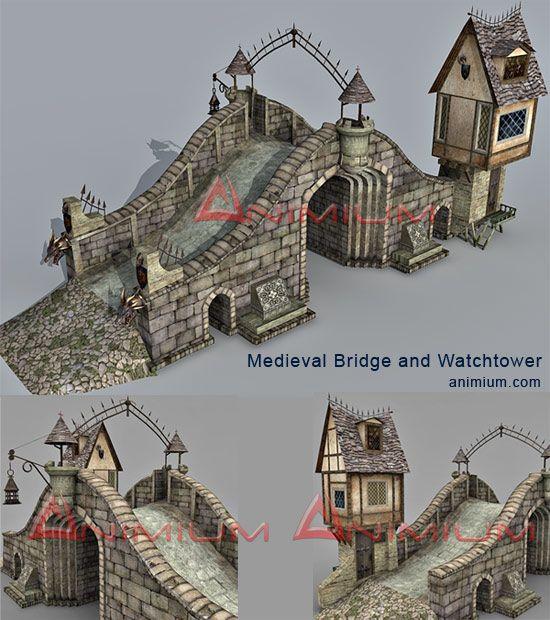 Medieval bridge and watchtower