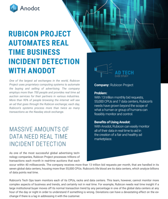 Rubicon Project Automates Real Time Business Incident Detection with Anodot