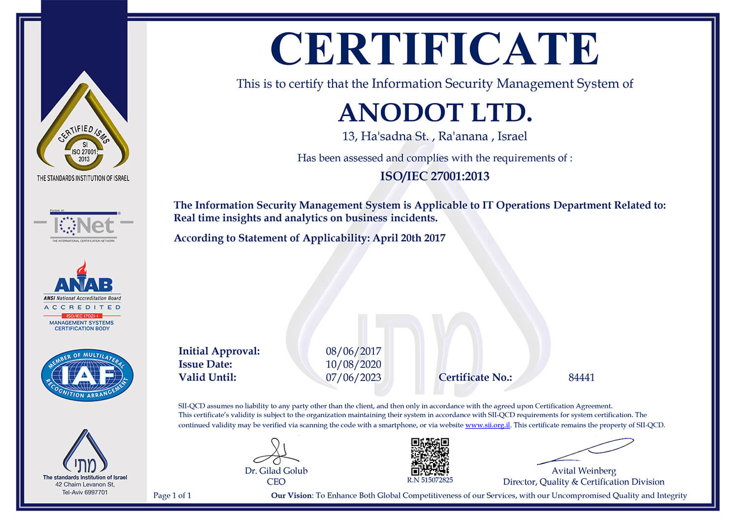 Anodot Security Statement