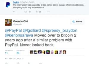 paypal service disruption tweet and customer disatisfaction