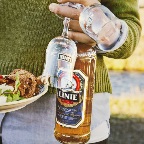LINIE pullo ja lautanen miehen kädessä