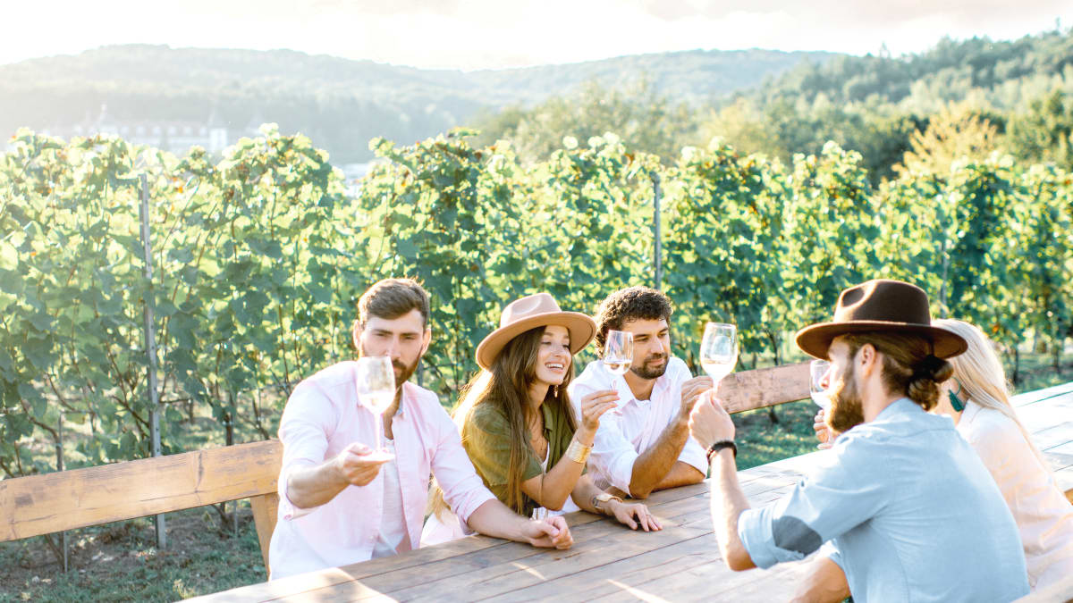 Anora brand - people in vineyard