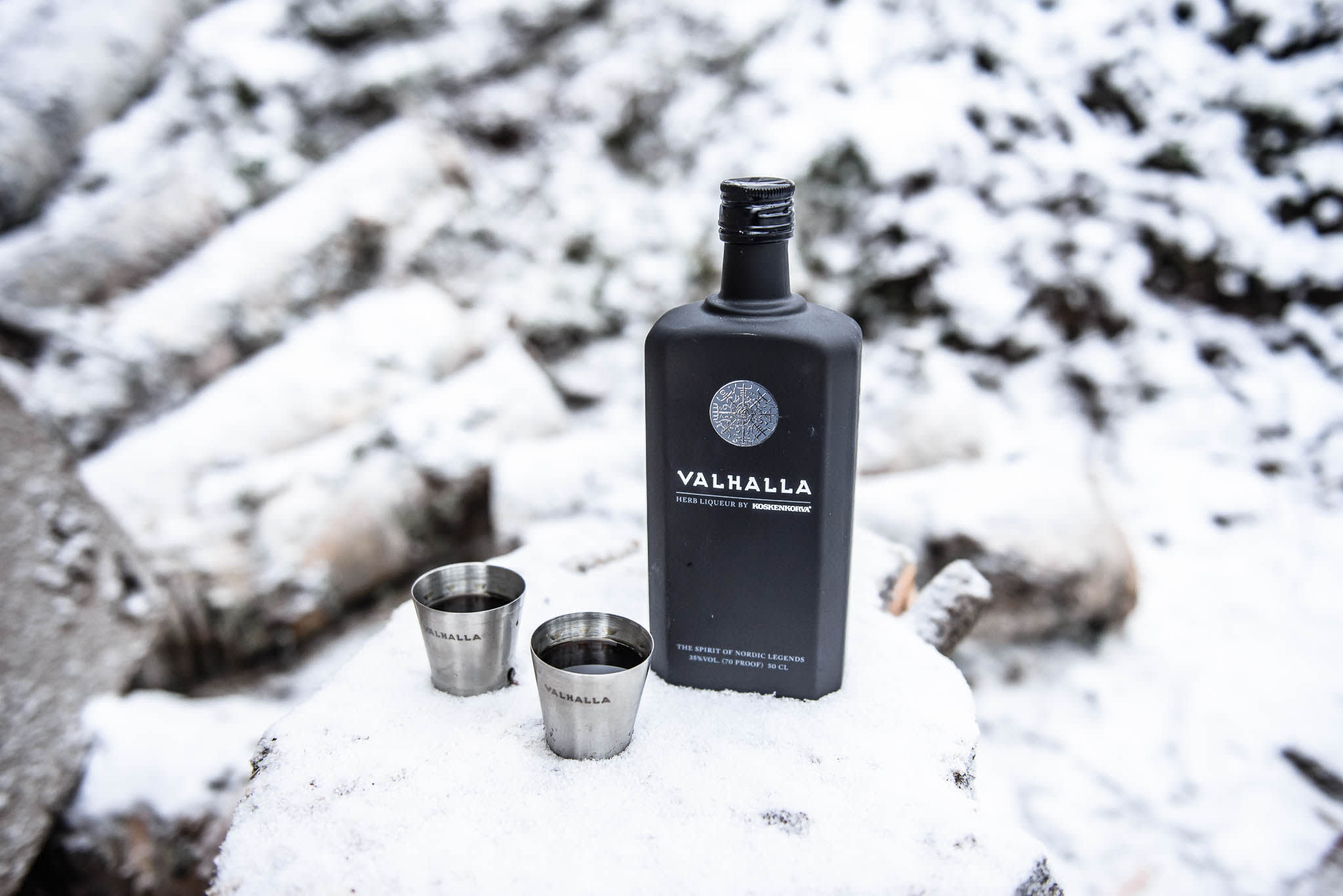 Valhalla bottle with two shot glasses