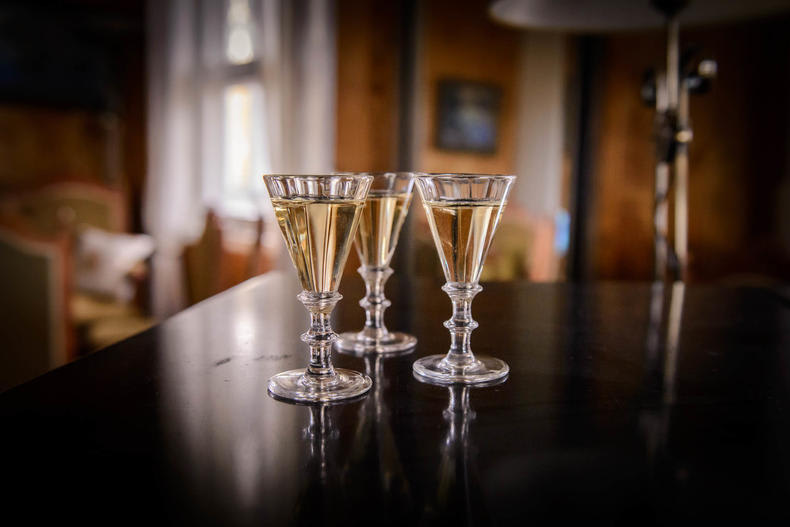 drink aquavit glasses on a table