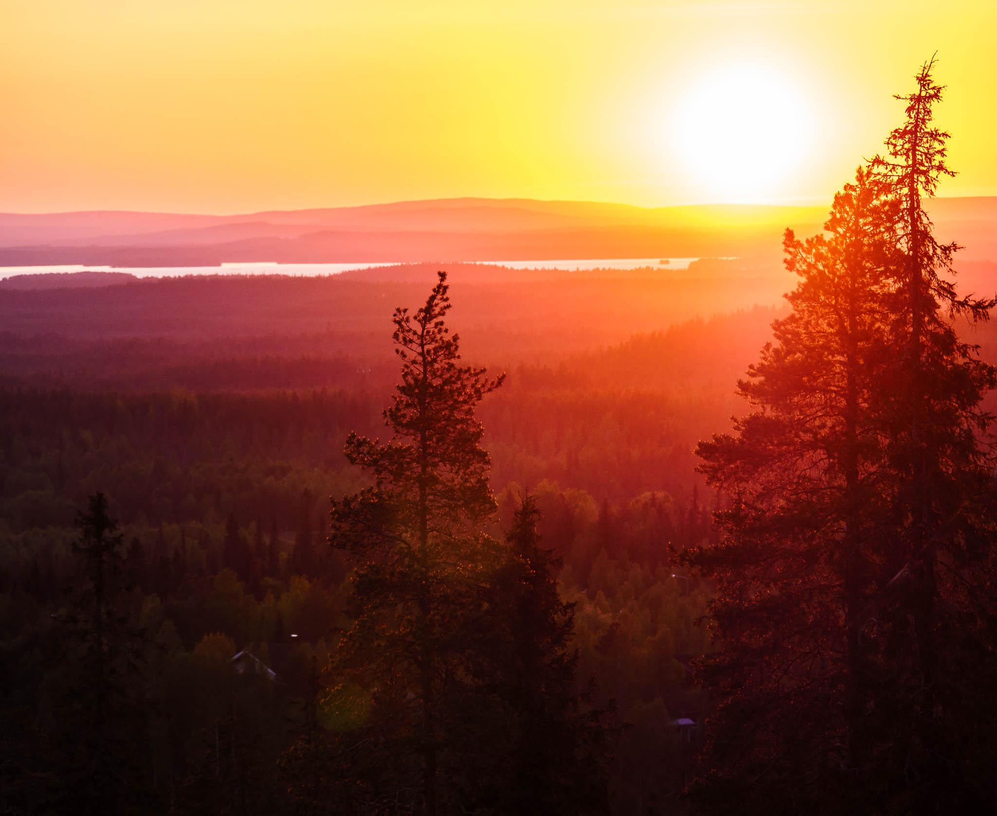 Midnight sun view in Finland