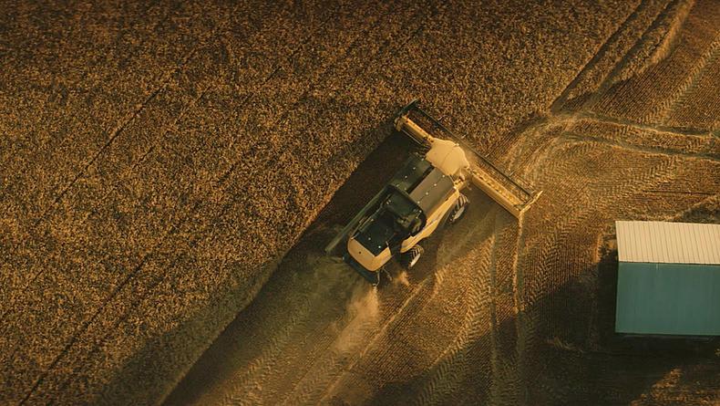 Overhead view of barley harvest in Koskenkorva village