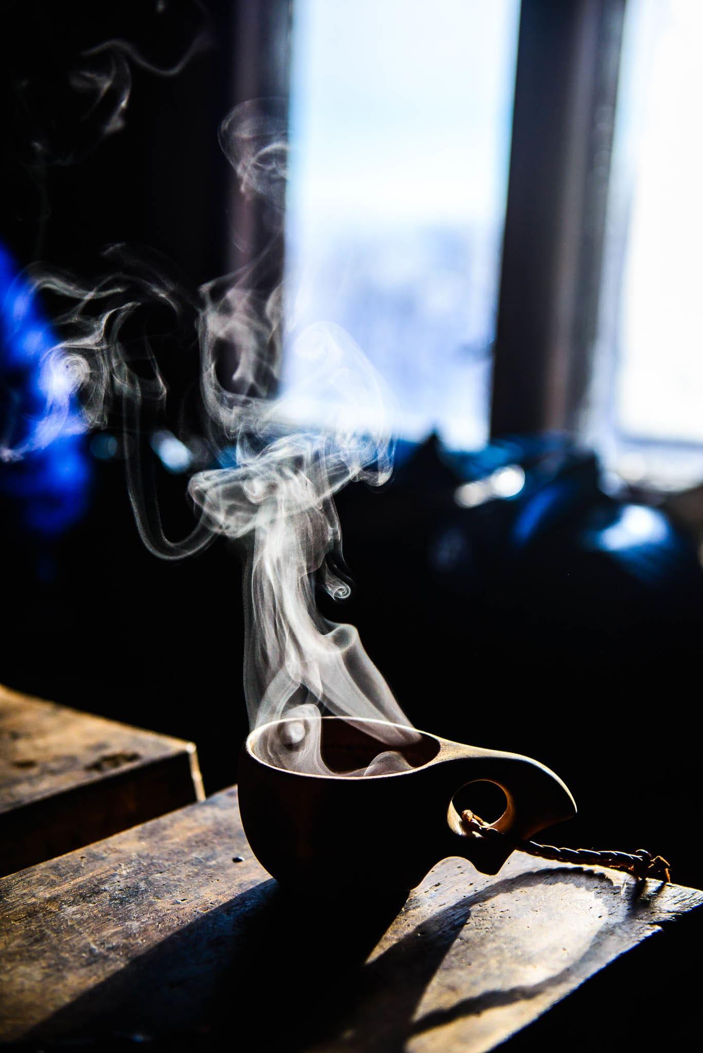 Steaming hot drink kuksa