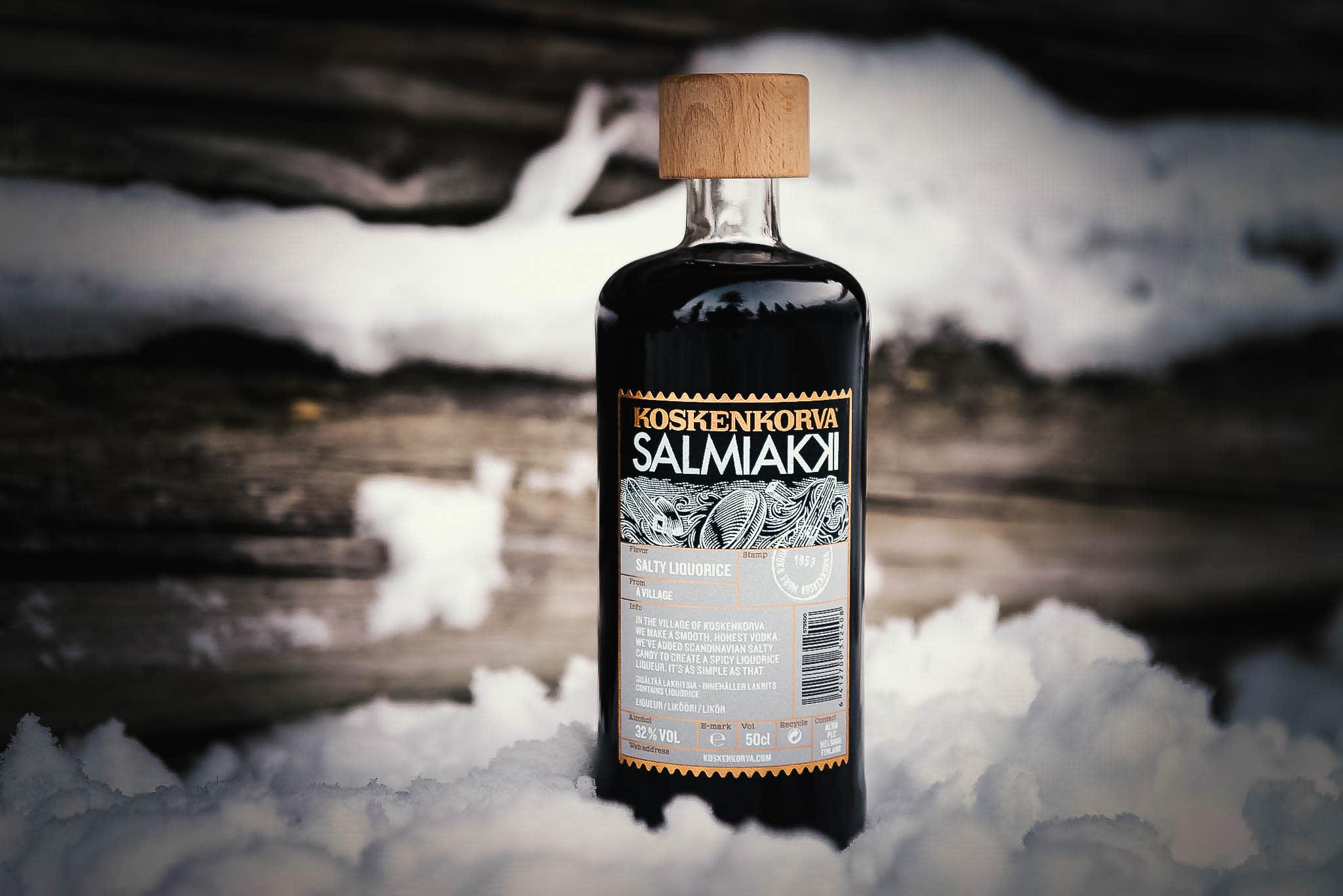 Koskenkorva salmiakki bottle and snow