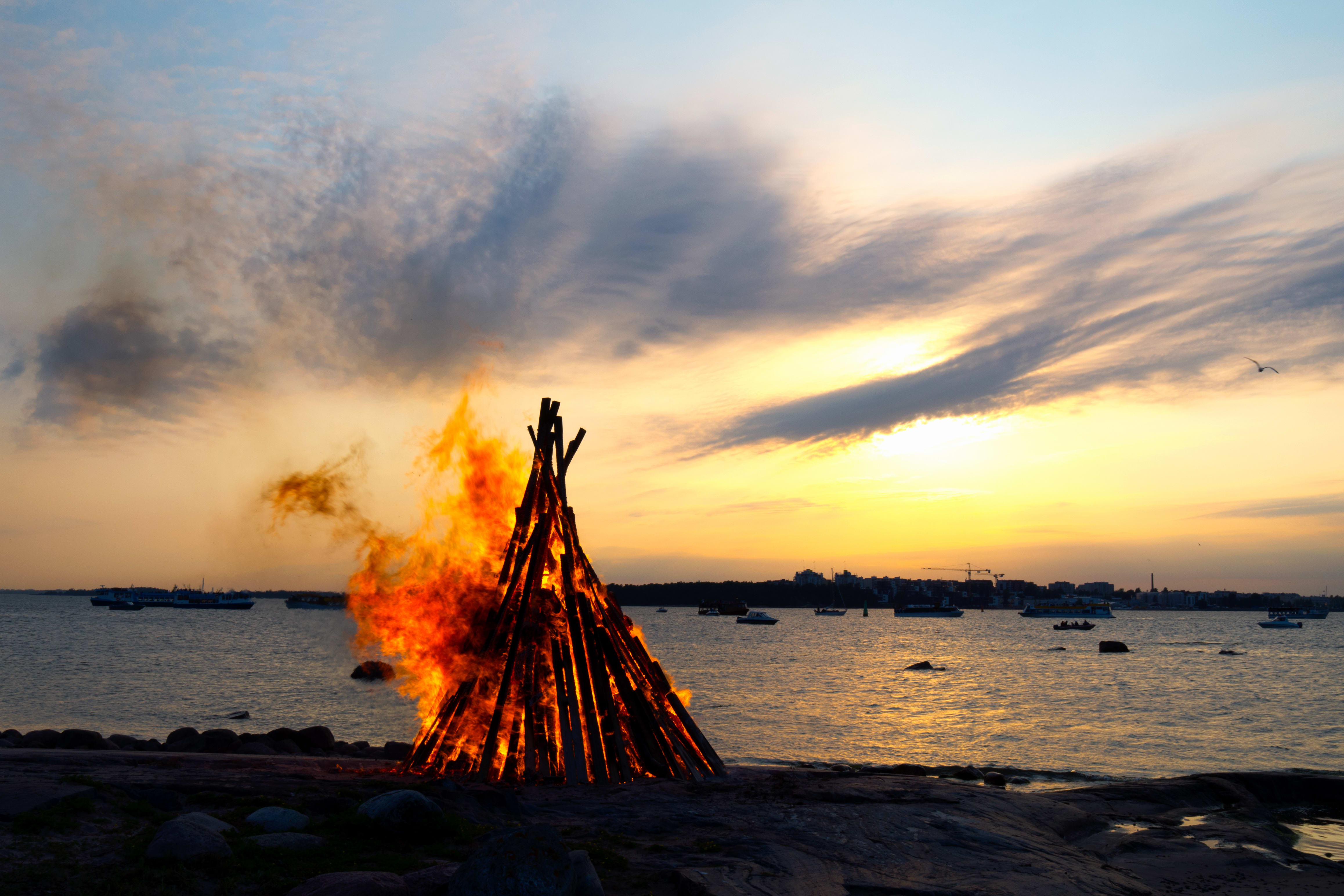 Midsummer bonfire on a coast